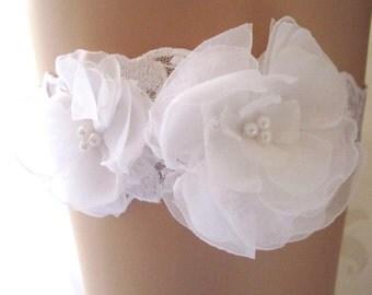 Wedding garter Bridal Belt Garter Jarretelle Jarretière Mariée Embroidered Floral White Romantic Boho Simple Ethereal Pearl Beaded  : ELAINE