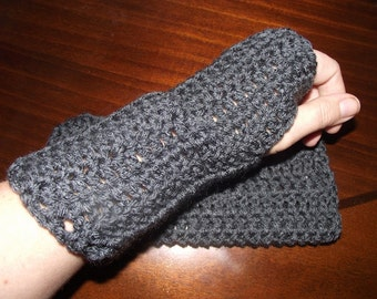 Charcoal Crochet Fingerless Gloves/ Wrist Warmers