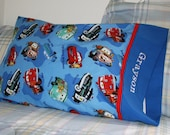 Cars Pillowcase Blue, Red, Custom Embroidered