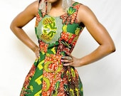 African Print Swing Dress, small - TabithaCreations