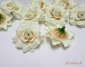 50 Ivory color Roses Artificial Silk Flower Heads for Wedding , Bridal Hair Clip, Bag, Shue Decorate