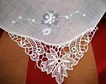 1920's Four Vintage White Cotton Embroidered Floral Handkerchiefs Wedding Batiste Cambric Fabric Vintage Linens Needlework