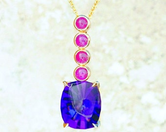 Amethyst Ruby Gold Pendant Custom Faceted  14K Yellow Gold  Necklace