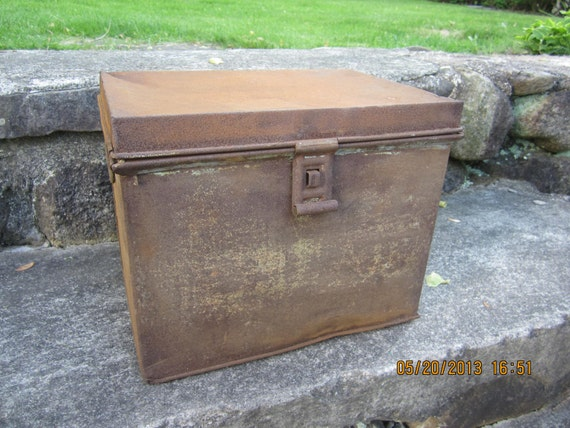 vintage antique metal milk box 1940s cupboard by westofchelsea. Black Bedroom Furniture Sets. Home Design Ideas