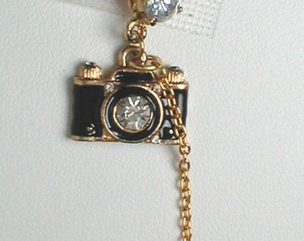 Unique Belly Ring - Trendy Camera with CZ Heart