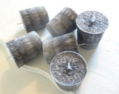 6 Madagascar Spice Palm Wax Votive Candles, Black and Gray Candles