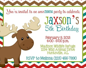 Moose Invitation - Boy Birthday Party - PRINTABLE