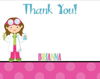 Science Thank You Card - Girl Birthday Party - PRINTABLE