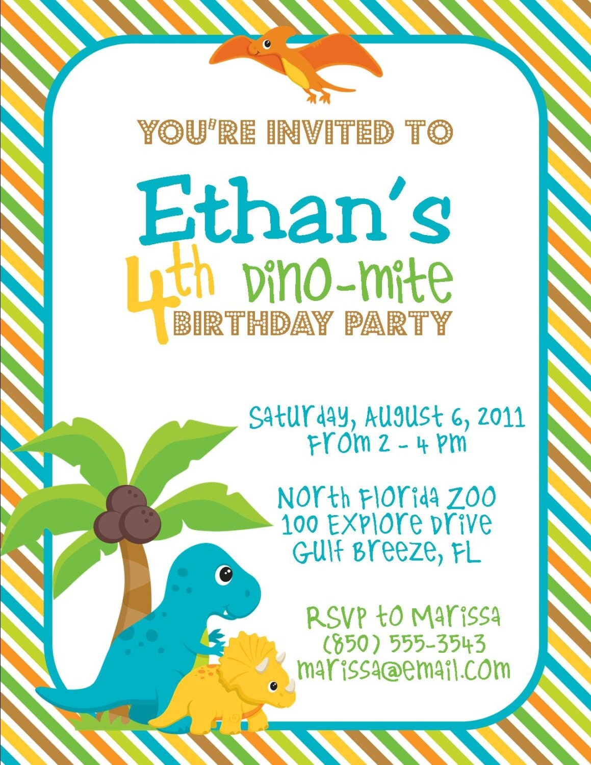 This is a photo of Effortless Dinosaur Party Invitations Free Printable
