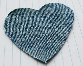 Denim Heart Patches