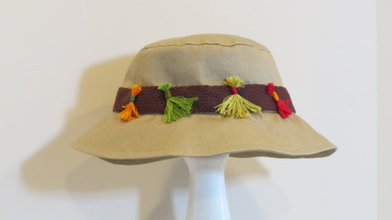 Items similar to unisex khaki fishing hat with no hook fly for Fishing hooks for hats
