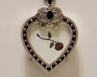 Our Love is Like a Thorny Rose Original Pen & Ink Illustration in a Black and Silver Heart Shaped Frame