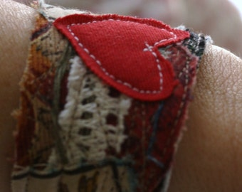 Upcycled wrist cuff - one of a kind, made to order