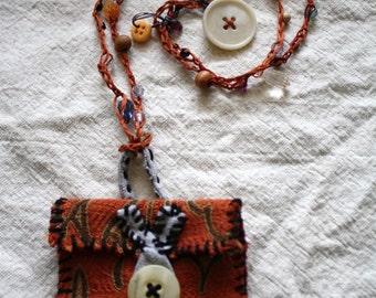 Medicine Pouch, Pouch Necklace, Amulet necklace, Wrap bracelet, Boho Gypsy Jewelry: eco friendly, upcycled