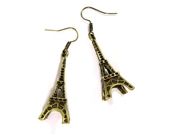 Eiffel Tower Bronze Earrings - Paris - Travel Lover Gift - Earrings for Her