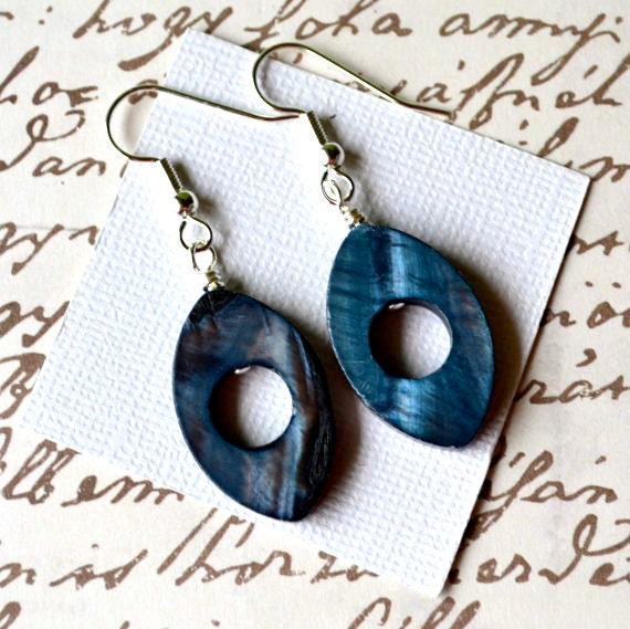Steel Blue Mother of Pearl Teardrops . Earrings . IMPERFECT CLEARANCE SALE