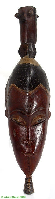 African Masks Guro Gu Face Mask With Drum On Top African Art