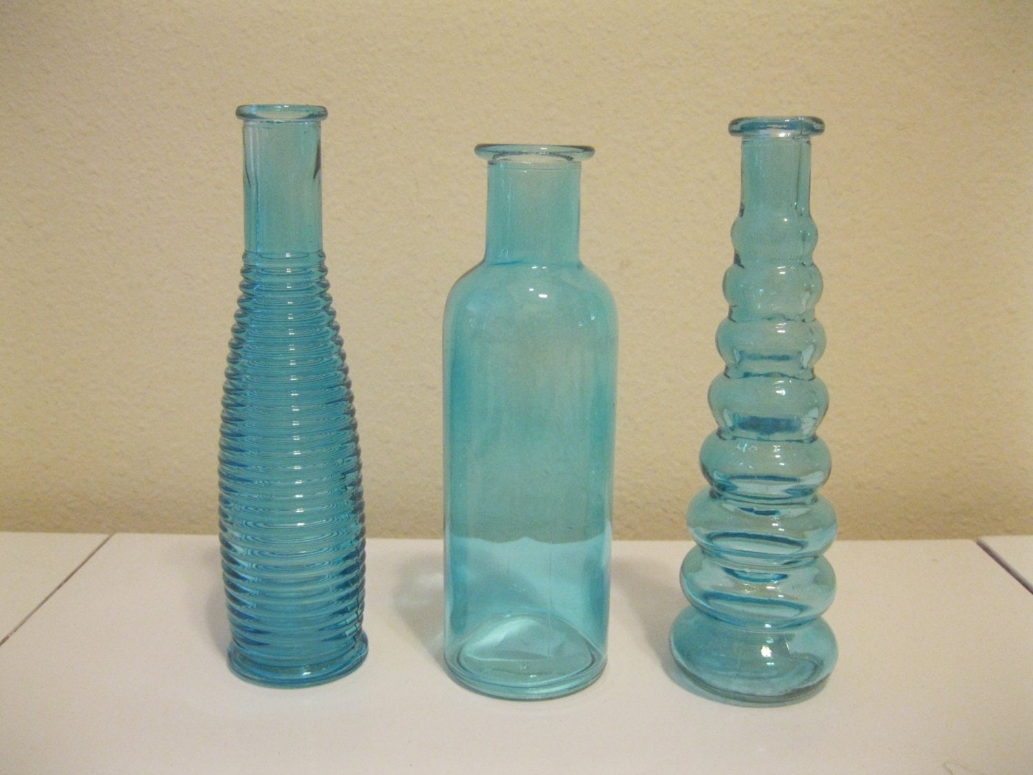 3 Blue Decorative Colored Glass Bottles Floral Bud Vase