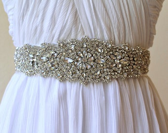 Bridal beaded luxury crystal applique ribbon sash.  Wedding couture rhinestone belt.  VINTAGE CRYSTAL