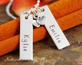 You and Me - Sterling Silver Hand Stamped Vertical Tags Duet Necklace with Double Heart Charm