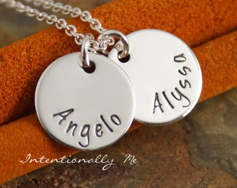 Personalized Mommy Necklace - Hand Stamped Jewelry - Sterling Silver Mommy Jewelry - Mini Name Tag Duet