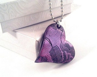Pink Black Lace Heart pendant necklace