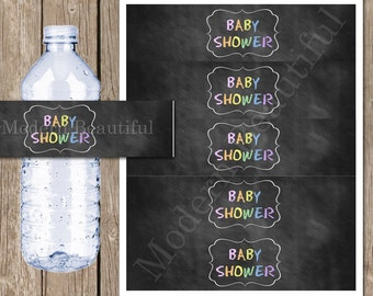 Chalkboard Baby Shower Printable Water Bottle Labels INSTANT DOWNLOAD