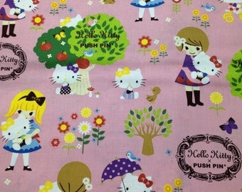 Half price Hello kitty x Push pin cotton fabric One yard