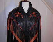 Leather Motorcycle Jacket with Cut Out Rose Design and Fringe