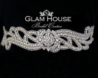Glam Bridal Belt,wedding sash,crystal sash,bridal belt,wedding gown belt,rhinestone belt,brooch belt,art deco wedding,jeweled sash