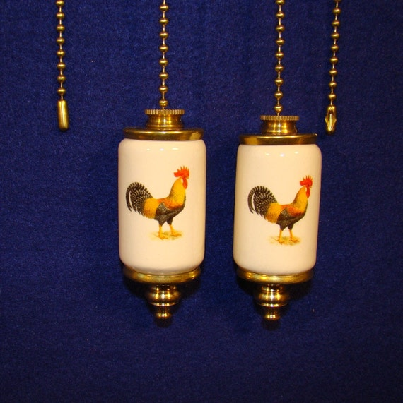 Rooster Fan Amp Light Ceiling Fan Pull Chain Set Of 2 Pull