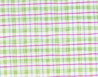 "White Fabric Green Plaid Fabric Pink Striped Fabric Yardage 54"" Quilting Cotton Fabric Craft Supplies YacketUSA"