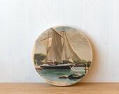 Paint by Number Circle Art Block 'Sailboat' - seascape, sailing, vintage art