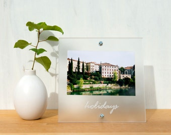Word Picture Frame 'Holidays' in frosted acrylic  - typography, handwriting
