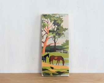Paint by Number Art Block 'Horses' - vintage, trees, ranch, horse farm