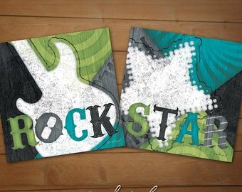 "Rock & Roll Boy or Girl Bedroom Prints -  ""Rockstar"" Collection-SET OF TWO Blue/Green 12x12 Giclée Art Print Set - Children's Decor"