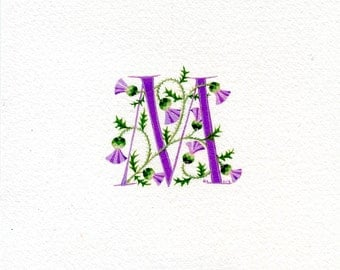 Roman initial letter 'M' in pale purple handpainted with Scots thistles birthday gift Mom sister friend