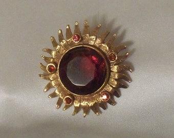 Amber sunburst brooch, Vintage 60s Mad Men Pin, art deco, stunning rainy day collar brooch.