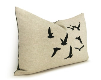 Flock of Birds Decorative Throw Pillow Case | Woodland animals | 12x18 Lumbar Black, Beige & Geometric Accent Flying Birds Cushion Cover