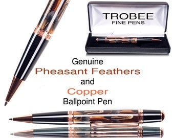 Custom Pen , Feathers and Copper executive ballpoint. Great gift for a man or woman
