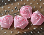 """4pcs Pink Satin Rose Flowers For Headwear Decor Fashion Costume 1.37"""" Wide"""