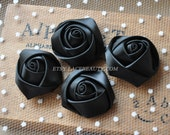 "4pcs Black Satin Rose Flowers For Headwear Decor Fashion Costume 1.37"" Wide"