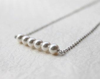 simple pearl bar necklace- modern minimalist jewelry- S2318-1