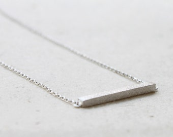Slim Long Silver Bar Necklace - S2320-1