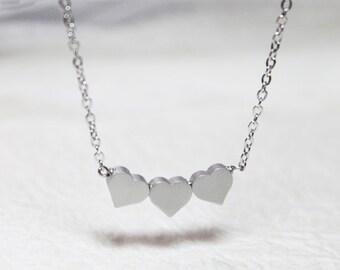 Cute three Hearts  Necklace - S2005-1