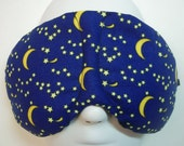 Herbal Hot/Cold Therapy Sleep Mask with adjustable and removable strap Moons and Stars on Blue