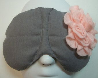 Herbal Hot/Cold Therapy Sleep Mask Gray with Pink Felt Flower