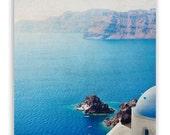 Turquoise wall art, Mediterranean decor, mykonos blue home decor, seaside Greece prints, aqua Santorini photos - Fine Art Photograph