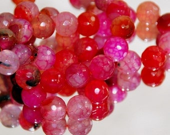 Half Strand 8mm Faceted Red Dragon Vein Agate Gemstone Beads - 22 beads