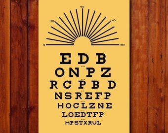 """Eye Chart Wall Art. Snellen Chart. Poster. Vintage Style Optometrist Poster. Gift. Black and Yellow Size 12""""x18"""""""